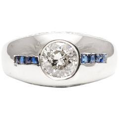 Glistening Art Deco Diamond French Cut Sapphire White Gold Ring