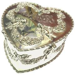 Antique Howard & Co. Large Sterling Heart with Cherubs Jewelry Box