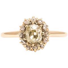Georgian Rose and Mine Cut Diamond Engagement Ring