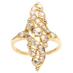 Exquisite Edwardian Lozenge Form Diamond gold Cocktail Ring