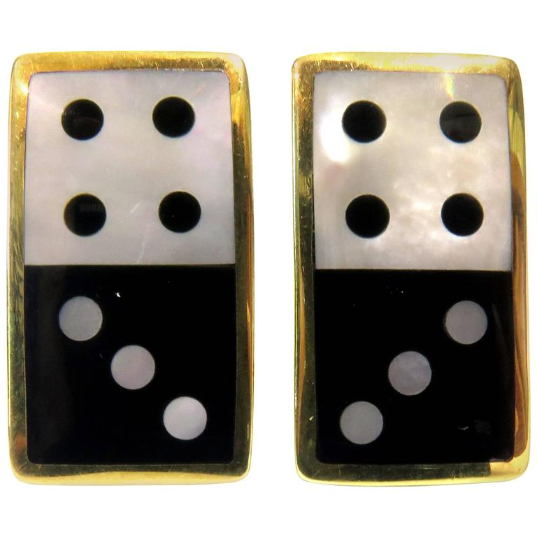 Tiffany & Co. Double Dice Mother-of-Pearl Onyx Gold Earrings