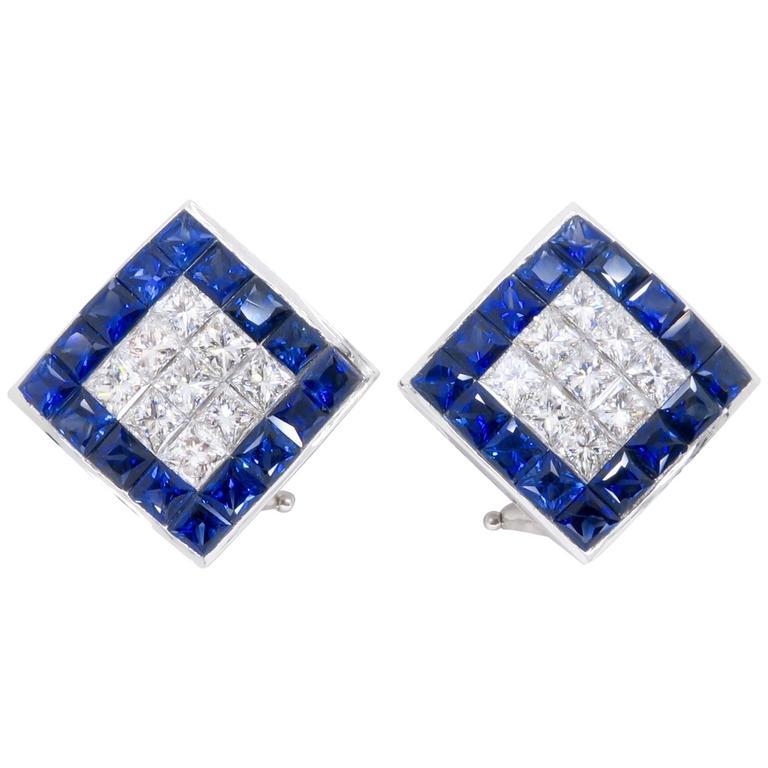 1.44 Carat Sapphire Diamond White Gold Omega Back Earrings For Sale