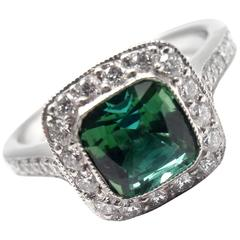 Tiffany & Co. Legacy Green Tourmaline Diamond Platinum Ring