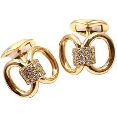 Piaget Diamond Yellow Gold Cufflinks