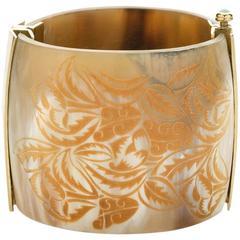 Fouché Bespoke Horn Fire Opal Cuff Bracelet