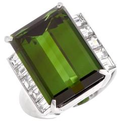 Classic  16.03 Carat Tourmaline Diamond Platinum Cocktail Ring