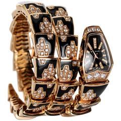 Bulgari Rose Gold Diamond Black Enamel Serpenti Bracelet quartz Wristwatch