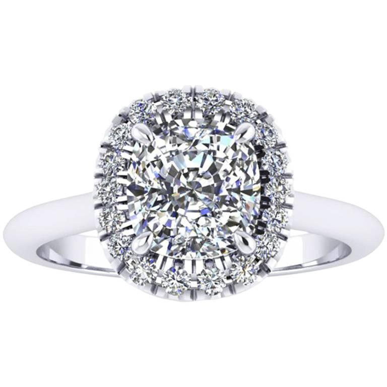 Ferrucci GIA Certified 1.51 Carat Certified Cushion Diamond Halo Platinum Ring For Sale