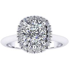 Ferrucci 1.51 Carat GIA Certified Cushion Diamond Platinum Ring