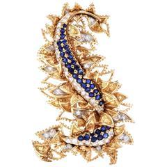 Tiffany & Co. Sapphire Diamond Yellow Gold  Brooch