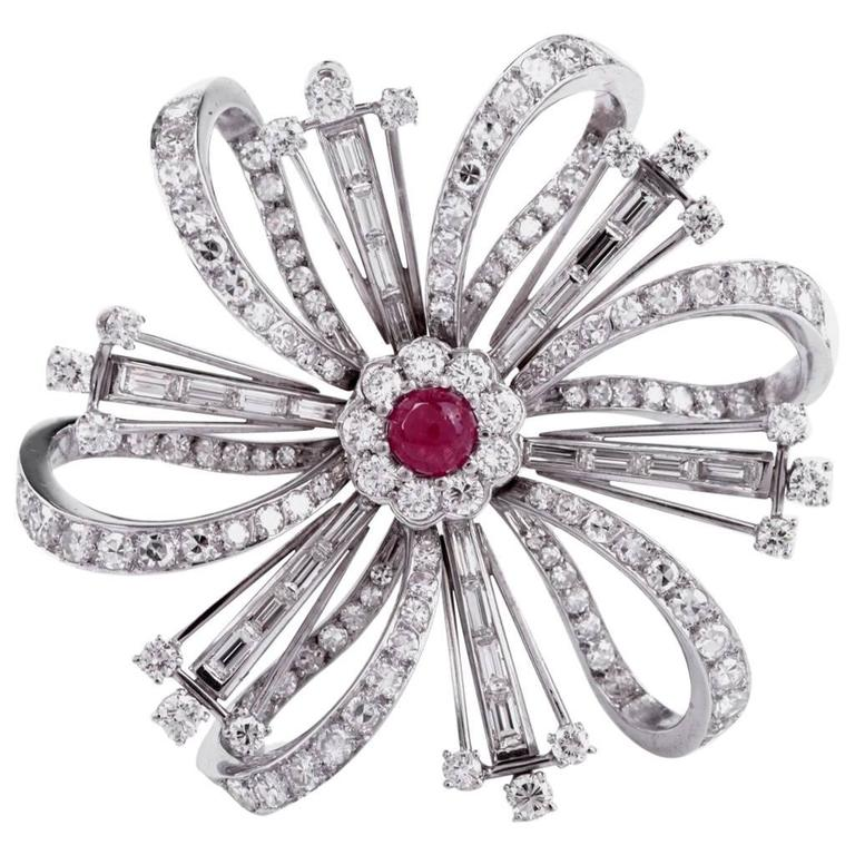 Ruby Diamond Platinum Flower Brooch Pin For Sale