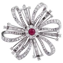 Ruby Diamond Platinum Flower Brooch Pin