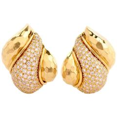 Henry Dunay 3.50 Carat Pave Diamonds Clip-Back Earrings