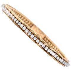 Hammerman Brothers Diamond Platinum Yellow Gold Line Bracelet