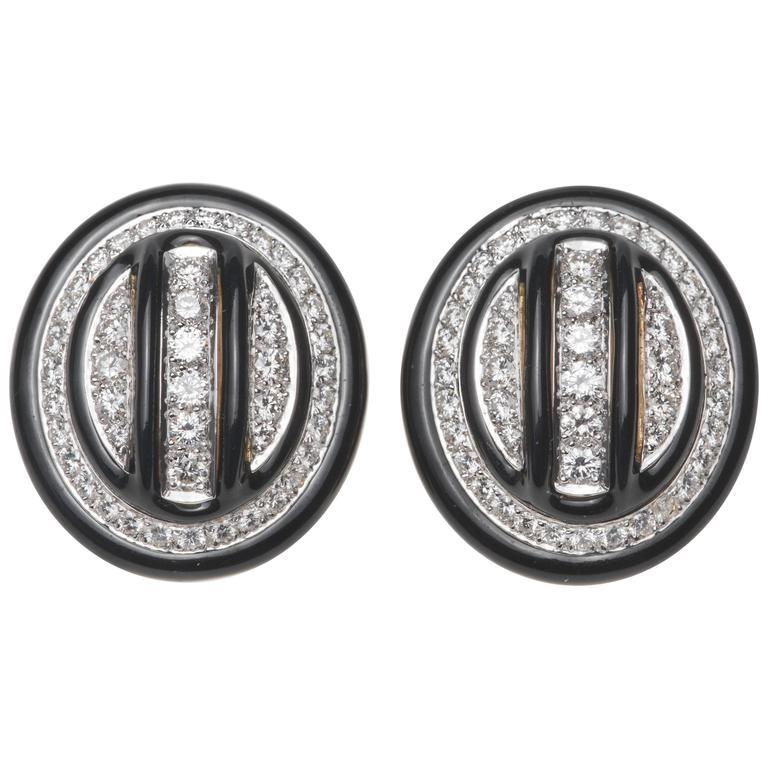 David Webb Diamond, Enamel Platinum and Gold Earrings
