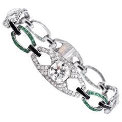 Antique Art Deco Onyx Emerald Diamond Platinum Link Bracelet