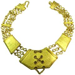 Extraordinary Denise Roberge Edgy Gold Corset Necklace
