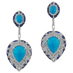 Turquoise Blue Sapphire Diamond Earrings