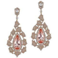 Morganite Diamond Drop Earring
