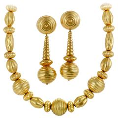 Ilias Lalaounis Yellow Gold Clip-On Earring and Necklace Set