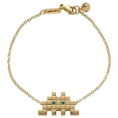 Francesca Grima Yellow Gold and Emerald Invader I Bracelet
