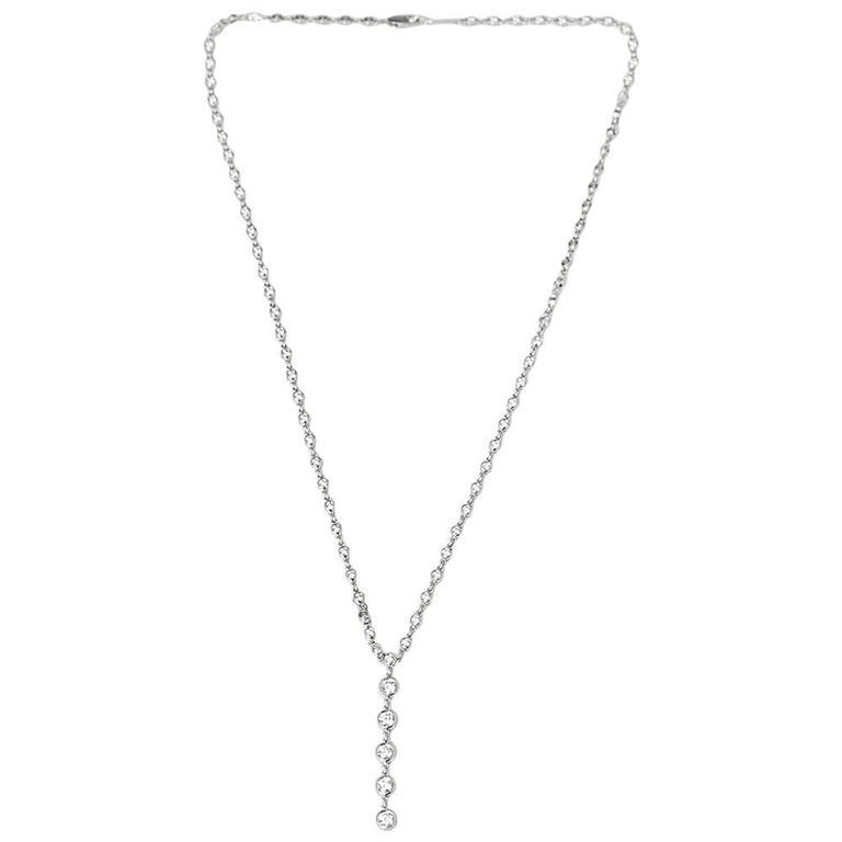 Tiffany & Co. Platinum 2.00 Carat Round Cut Diamond Jazz T-Drop Necklace