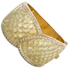 Diamond and Yellow Gold Large Bangle Bracelet