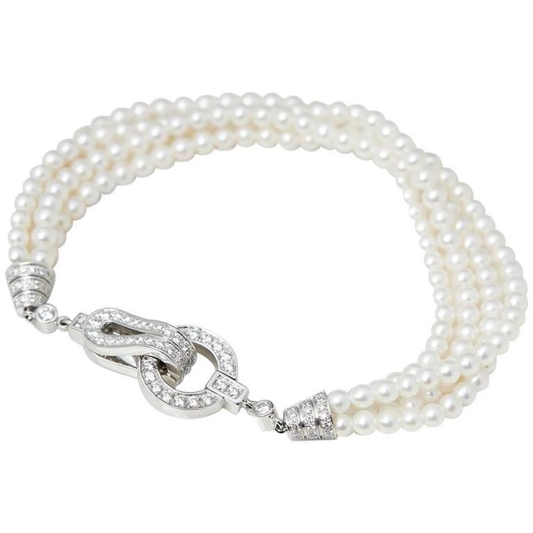Cartier Cultured Pearl Diamond Gold Agrafe Bracelet