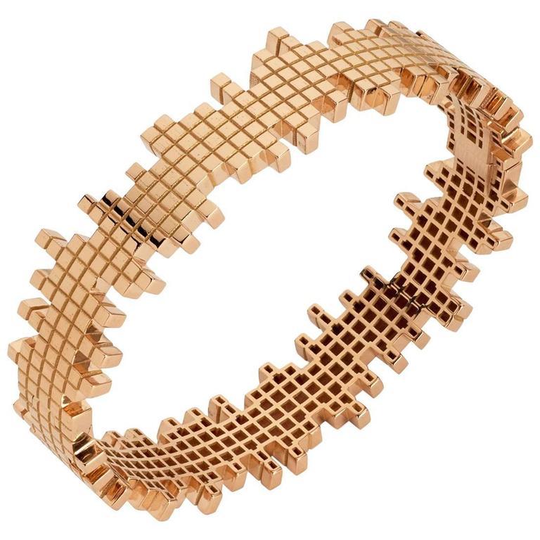 Francesca Grima Rose Gold Pixel Bangle Bracelet 1