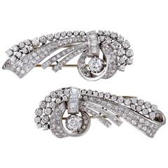 Full Diamond Pave Platinum Brooch Set