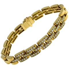Diamond Panther Link 18 Karat Yellow Gold Bracelet