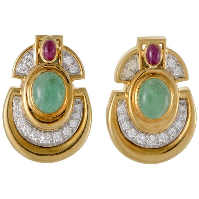 David Webb Diamond Emerald Ruby Yellow and White Gold Clip-On Earrings For Sale