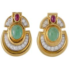 David Webb Diamond Emerald Ruby Yellow and White Gold Clip-On Earrings