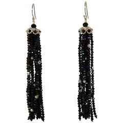 Marina J Black Spinel Faceted Beads Tassel Earrings