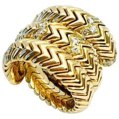 Bulgari Diamond Yellow Gold Spiga Snake Band Ring