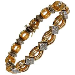 4 Carat Diamond Yellow and White Gold Bracelet
