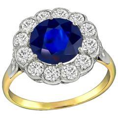 2.80 Carat Sapphire Diamond Halo Ring