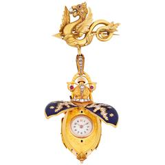 Yellow Gold Scarab Lapel Watch, circa 1880