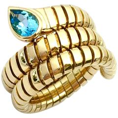 Bulgari Tubogas Blue Topaz Yellow Gold Snake Band Ring