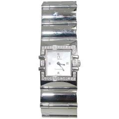 Omega Ladies Stainless Steel Diamond Constellation Quartz Wristwatch