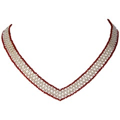 Marina J White Pearls and Red Coral Beads V Shape Necklace with 14 k yellow gold