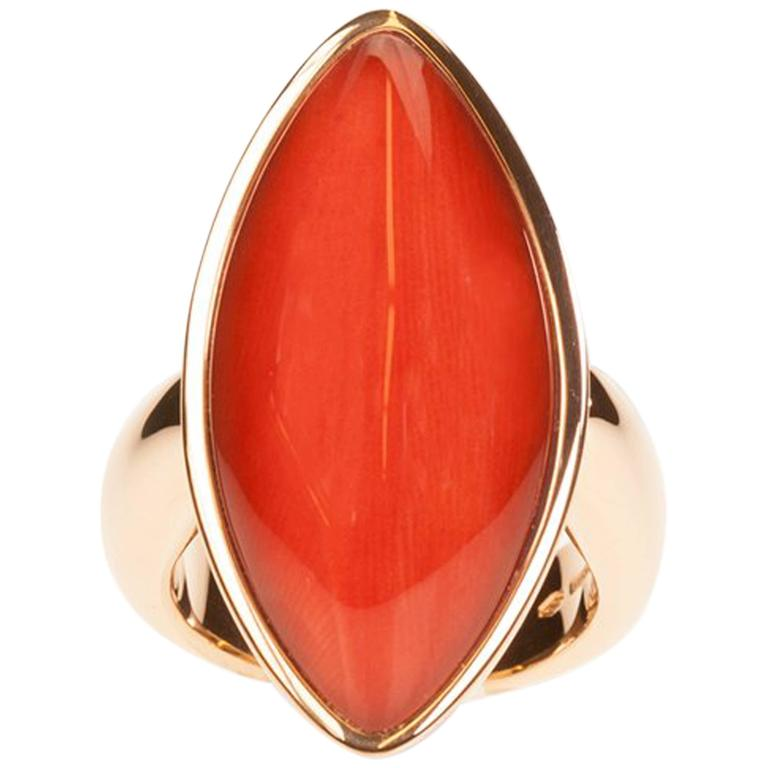 Vhernier Gold Coral and Rock Crystal Quartz Flexible Navette Shaped Ring