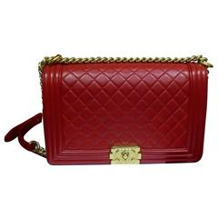 Chanel Le Boy Quilted Dark Red Lambskin Large Double Flap Bag
