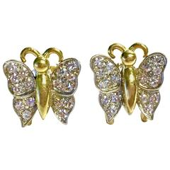 Diamond Set Two Color Gold Butterfly Earrings