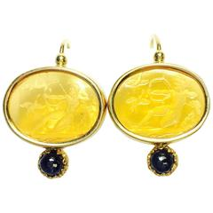 Italian Intaglio Sapphire Yellow Gold Earrings