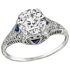 Art Deco 1.95 Carat GIA Certified Diamond platinum Engagement Ring