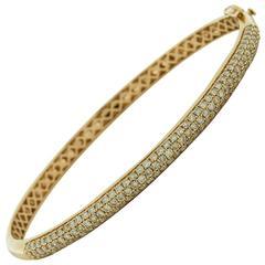 1.65 Total Carat Pavé Diamond Yellow Gold Bracelet