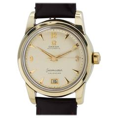 Omega Gold Seamaster Calendar Self Winding Wristwatch Model 2757-1, circa 1952