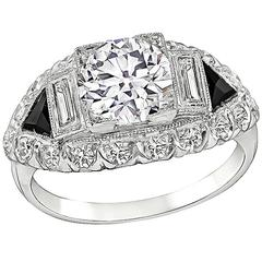 Art Deco 1.61 Carat GIA Diamond Onyx Platinum Ring