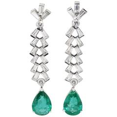 Platinum Pear Shape Emerald Drops and Diamonds Earrings